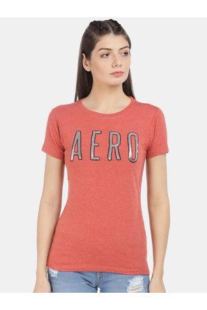 Aeropostale Women Coral Printed Round Neck T-shirt