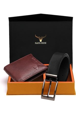 NAPA HIDE Men RFID Protected Genuine High Quality Leather Wallet & Belt Gift Set