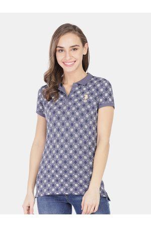 Ralph Lauren Women Blue Printed Mandarin Collar T-shirt