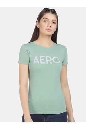 Aeropostale Women Green Printed Round Neck T-shirt