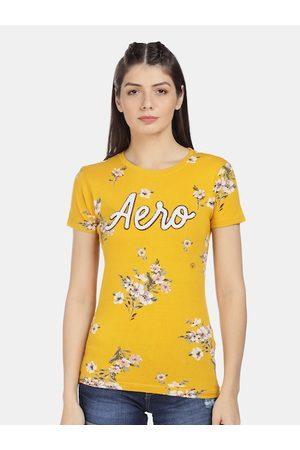Aeropostale Women Yellow Printed Round Neck T-shirt
