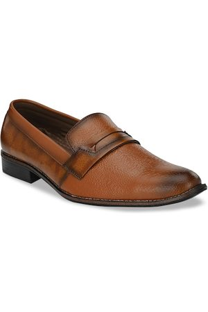 Sir Corbett Men Tan Brown Textured Loafers