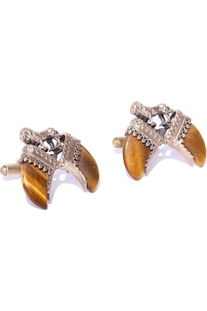 COSA NOSTRAA Antique Gold-Toned & Tan Brown The Lion Claw Textured Cufflinks