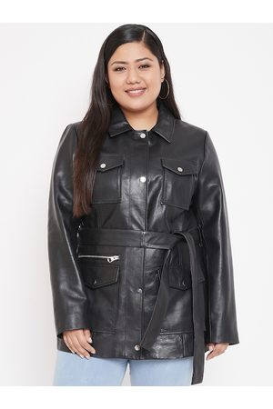 Justanned Women Plus Size Black Solid Leather Jacket