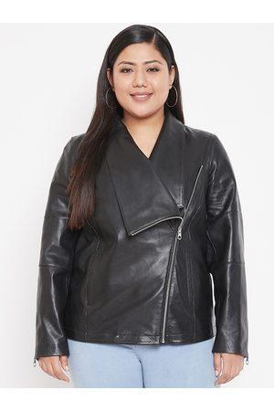 Justanned Women Black Solid Leather Biker Jacket