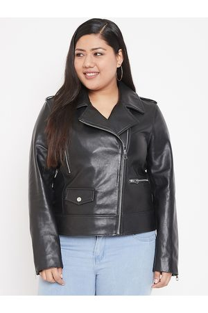 Justanned Women Black Solid Leather Jacket