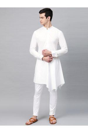 See Designs Men White Solid Asymmetrical Kurta with Pyjamas