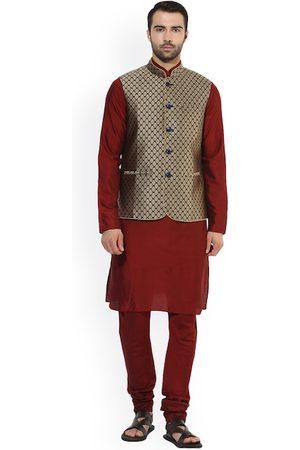 KISAH Men Maroon & Navy Blue Self-Design Kurta with Churidar & Nehru Jacket