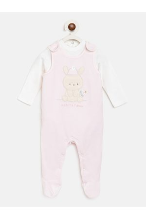 chicco Pack Of 2 Unisex Kids Pink & White Solid Bodysuits
