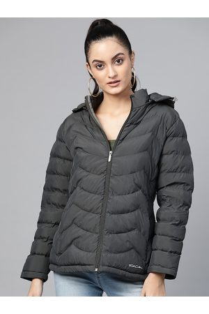 Fort Collins Women Charcoal Grey Solid Lightweight Puffer Jacket with Detachable Hood