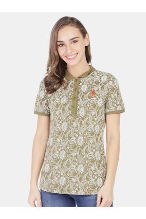 Ralph Lauren Women Green Floral Printed Polo Collar T-shirt