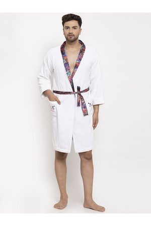 DECOREALM Men White & Blue Solid Bath Robe