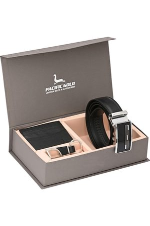 Pacific Men Black & Silver-Toned Genuine Leather Accessory Gift Set