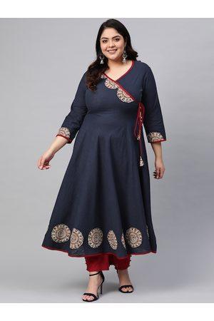 Yash Gallery Plus Size Women Navy & Golden Embroidered Yoke Design A-Line Angrakha Kurta