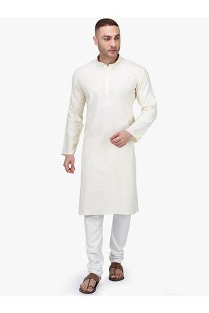 RAJUBHAI HARGOVINDAS Men Off-White Solid Kurta with Pyjamas