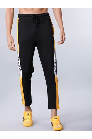 LocoMotive Men Black & Yellow Solid Slim-Fit Track Pants