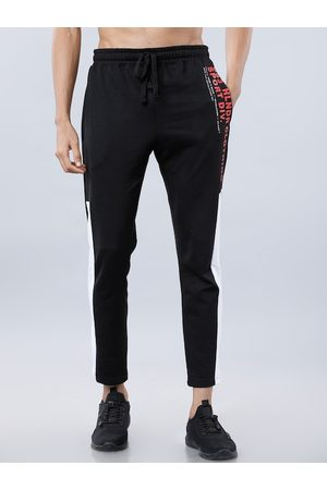 Highlander Men Black & White Solid Slim-Fit Track Pants