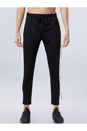 LocoMotive Men Black & White Solid Slim-Fit Cropped Track Pants