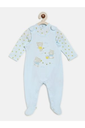 chicco Kids Blue Printed Romper With Bodysuit