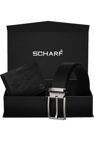Scharf Men Black Genuine Leather Belt & Wallet Accessory Gift Set
