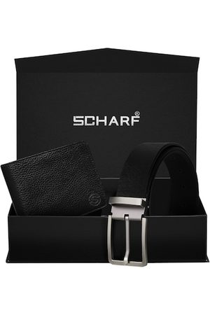 Scharf Men Black Genuine Leather Accessory Gift Set