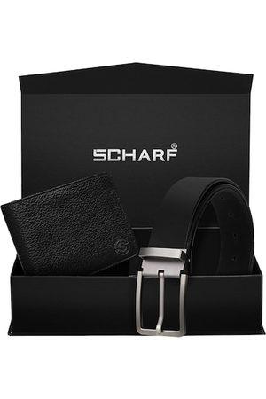 Scharf Men Black Genuine Leather Formal Belt & Wallet Gift Set