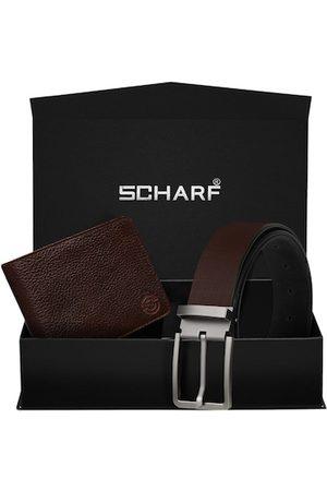 Scharf Men Brown Genuine Leather Accessory Gift Set