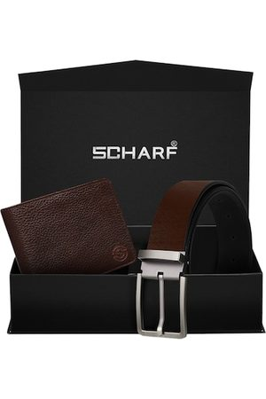 Scharf Men Brown RFID Protected Genuine Leather Accessory Gift Set