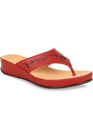Scholl Women Red Solid Leather T-Strap Flats
