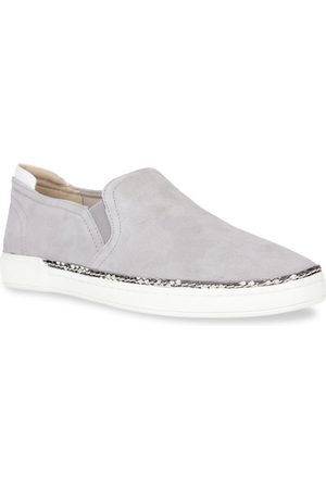 Naturalizer Women Grey Solid Leather Slip-On Sneakers