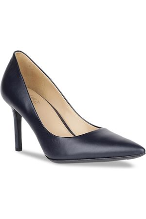 Naturalizer Women Navy Blue Solid Leather Pumps