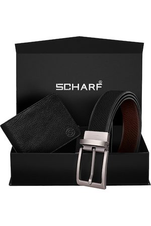 Scharf Men Black Leather Accessory Gift Set