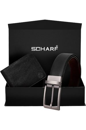 Scharf Men Black & Brown Leather Accessory Gift Set