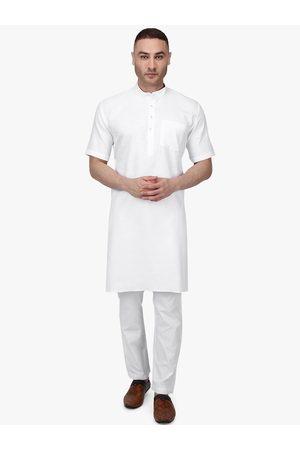 RAJUBHAI HARGOVINDAS Men White Solid Kurta with Pyjamas