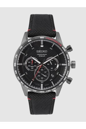 Seiko Men Black Discover More Chronograph Tachymeter Analogue Watch SSB359P1