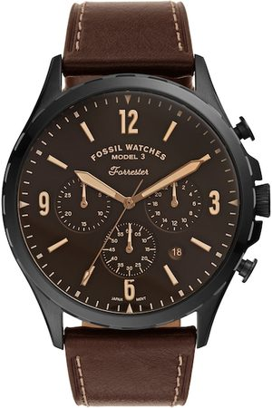 Fossil Men Brown Forrester Leather Analogue Watch FS5608