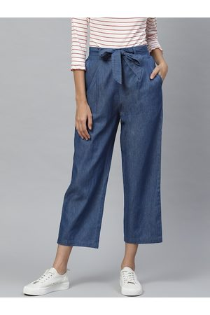 Yash Gallery Women Blue Solid Cropped Denim Trousers