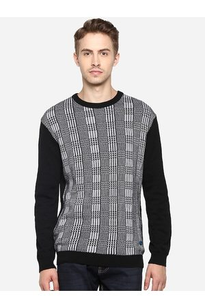 Red Chief Men Grey & Black Printed Pullover Sweater