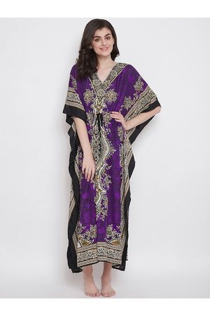 Clovia Women Purple & White Floral Printed Long Kaftan Style Nightdress NS0865P15M/L