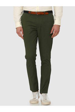 Selected Men Green Slim Fit Solid Regular Trousers