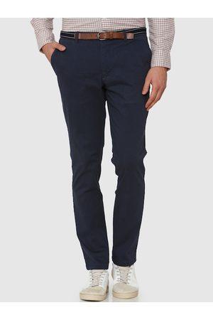 Selected Men Navy Blue Slim Fit Solid Regular Trousers