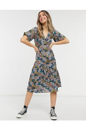 New Look Tier hem midi dress in mixed ditsy floral