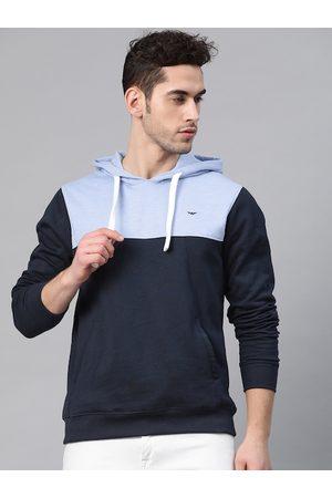 Park Avenue Men Blue Colourblocked Slim Fit Hooded Sweatshirt