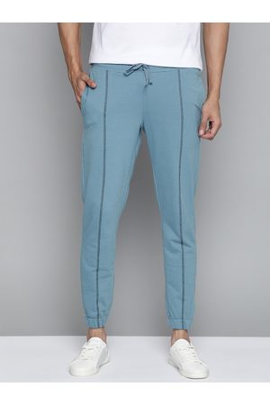 Mast & Harbour Men Blue Straight Fit Solid Joggers