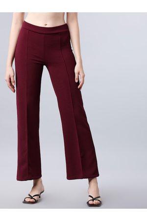 Tokyo Talkies Women Maroon Regular Fit Solid Parallel Trousers
