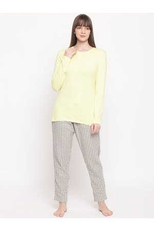 ENAMORA Women Yellow, White & Black Solid Night Suit