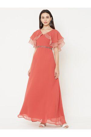MISH Women Rust Orange Solid Maxi Dress