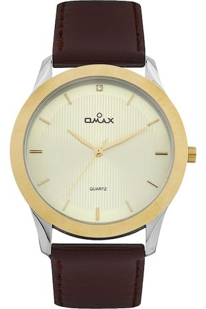 Omax Men Dull Gold Toned Dial Watch