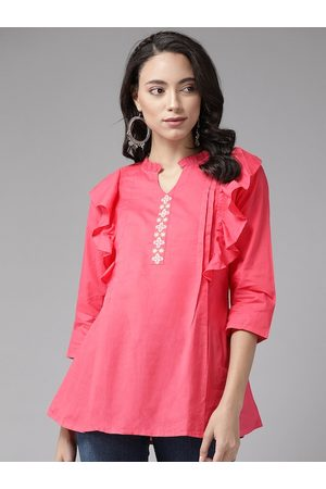 Anouk Women Pink Embroidered Detail A-Line Top