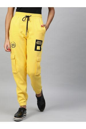 STREET 9 Women Yellow Regular Fit Printed Joggers